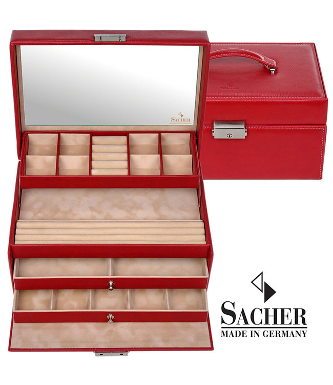 Sacher Jewelry case Jette  in red imitation leather