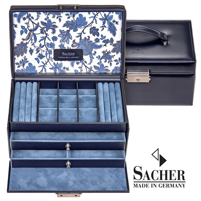 Jewelry case Elly navy blue leather