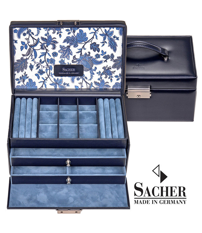 Sacher Jewelry case Elly navy blue leather