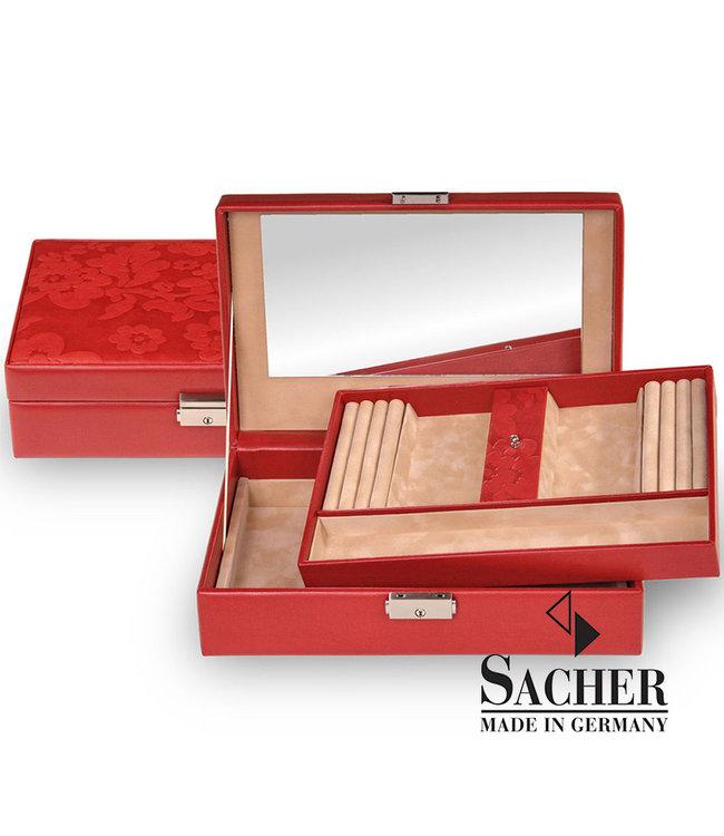 Sacher Jewelry box Ilka red with flowers
