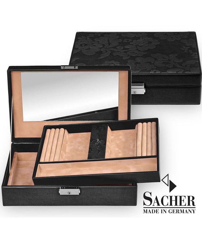 Sacher Jewelry box Ilka black with flowers