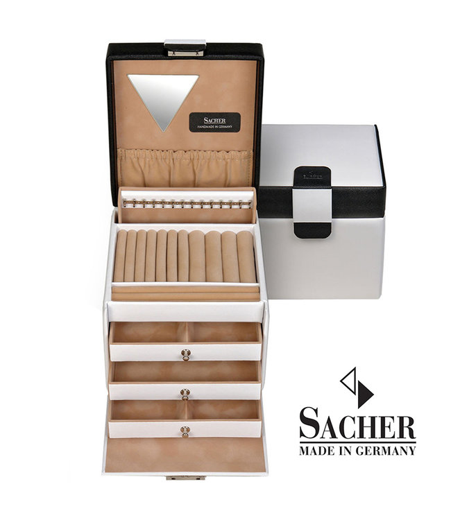 Sacher Jewelry case Erika in white and black