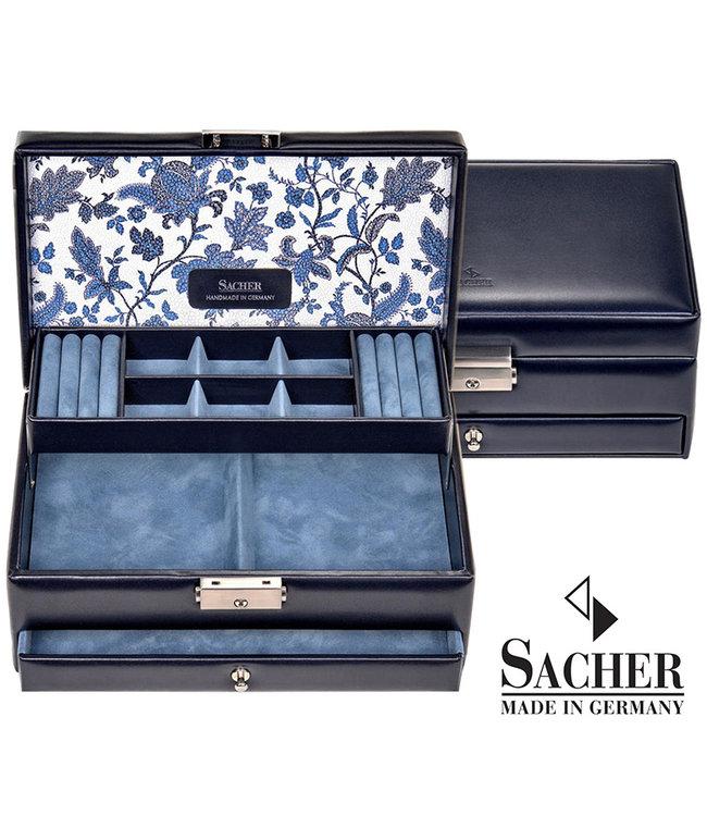 Sacher Jewelry case Helen navy blue leather
