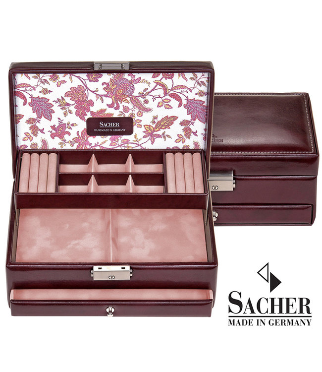 Sacher Jewelry case Helen bordeaux red