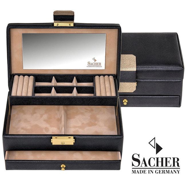 Jewelry case Helen black Saffiano imitation leather