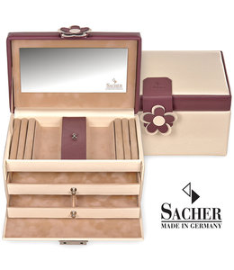 Sacher Jewellery case Eva Cream burgundy red