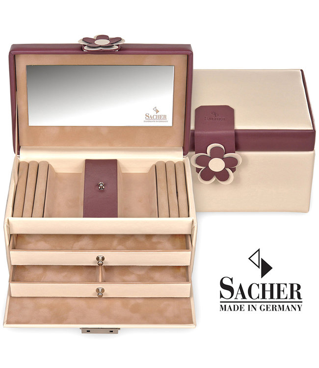 Sacher Jewelry case Eva in cream and burgundy red