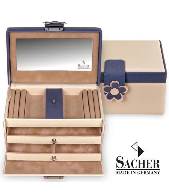 Sacher Jewelry case Eva in cream and navy blue