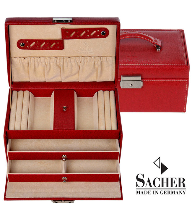 Sacher Jewelry case Eva in red imitation leather