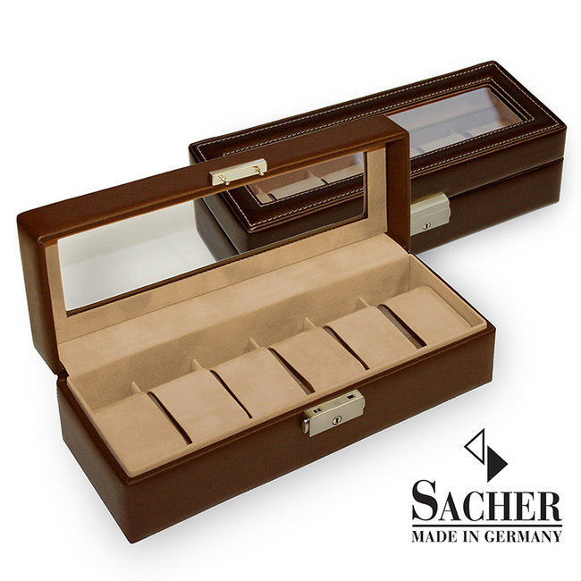Watch storage box for 6 watches with display pane