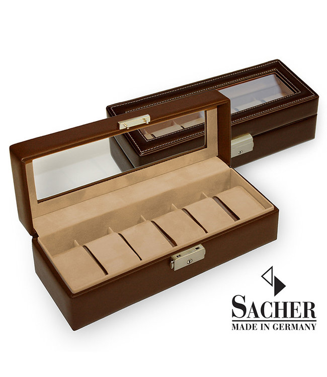 Sacher Watch storage box for 6 watches with display pane