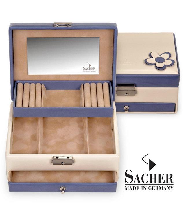 Sacher Jewelry case Carola in cream and navy blue