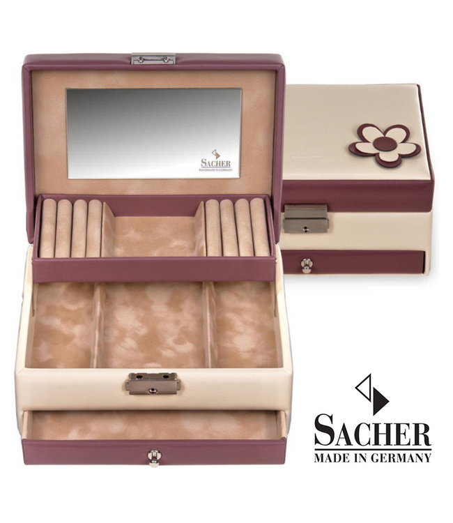 Sacher Jewelry case Carola in cream and burgundy red
