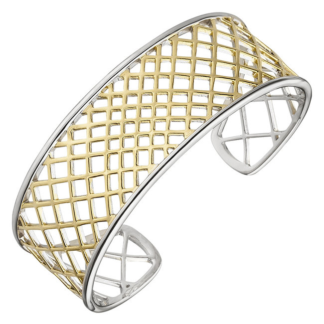Open bracelet sterling silver partly gold plated