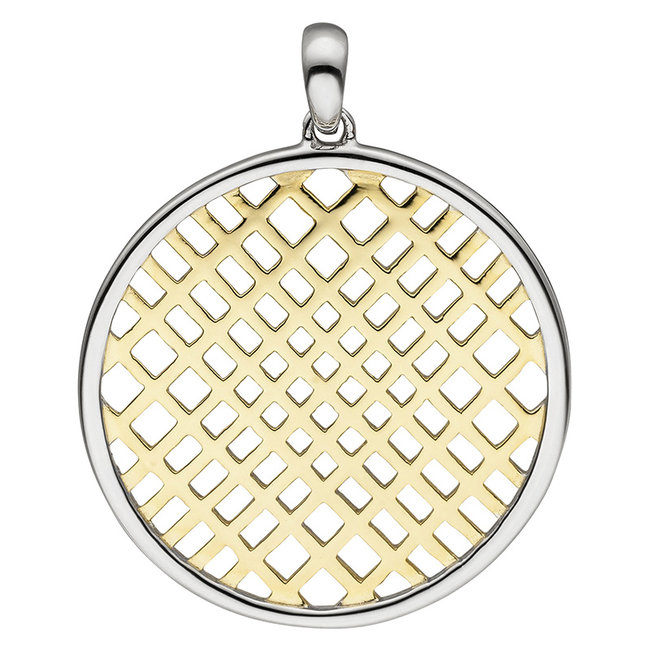 Round pendant in partly gold plated silver
