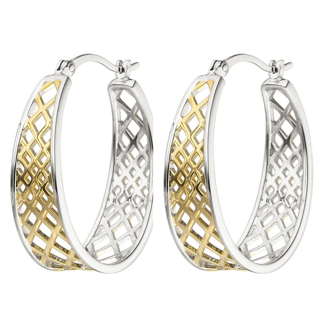 Creole earrings sterling partially silver plated