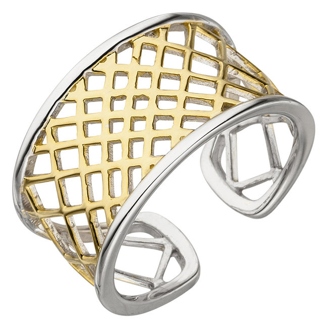 Open ring sterling silver partly gold plated