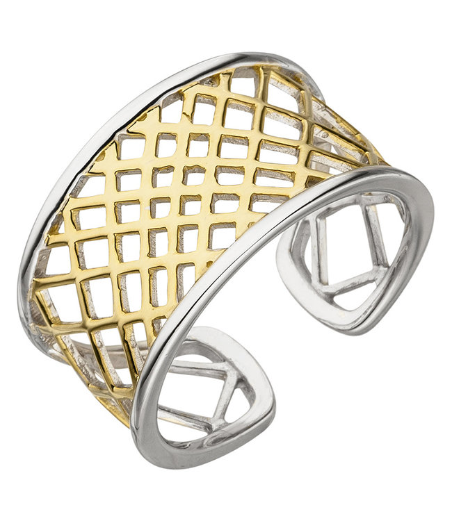JOBO Open ring sterling silver partly gold plated