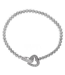 JOBO Zilveren armband hartje met zirkonia