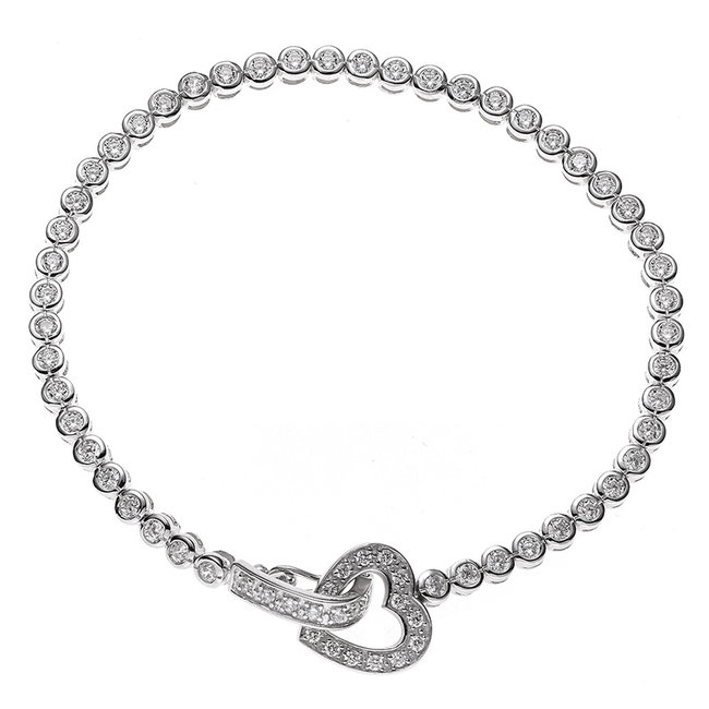Silver bracelet Heart with white zirconia 19 cm