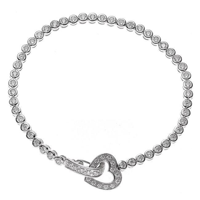 Zilveren armband hartje met witte zirkonia 19 cm