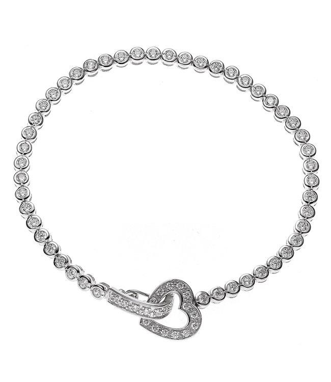 Aurora Patina Zilveren armband hartje met witte zirkonia 19 cm