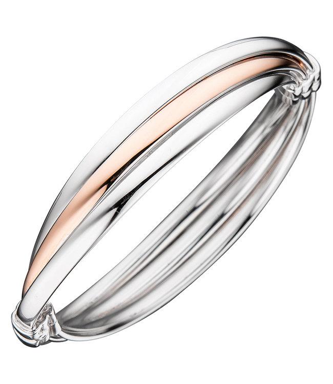 JOBO Zilveren armband deels rood goud verguld