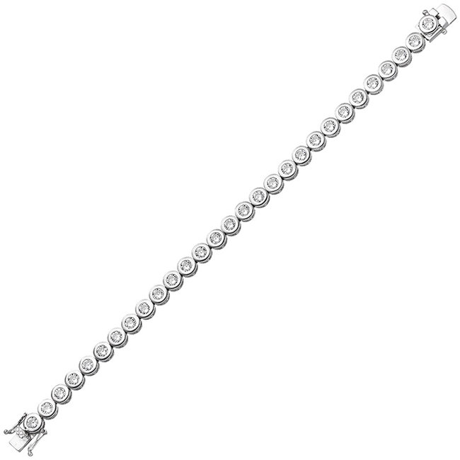 Silver bracelet with 28 zirconia 925 sterling silver 19 cm