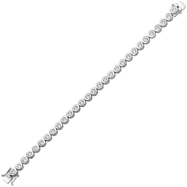 Zilveren armband met 28 zirkonias 925 sterling zilver 19 cm