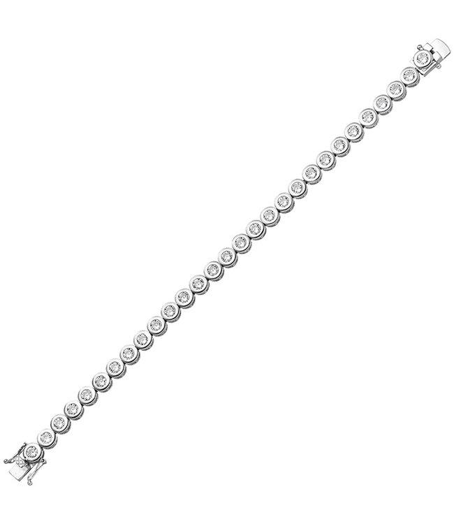 JOBO Zilveren armband met 28 zirkonias 925 sterling zilver 19 cm