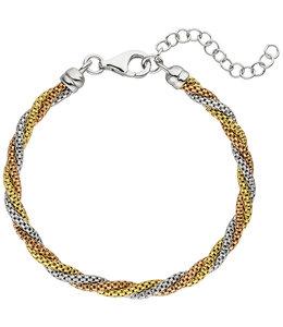 Aurora Patina Zilveren armband in drie kleuren 22 cm