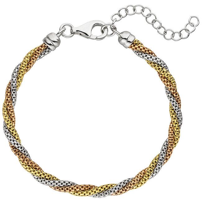 Armband van 925 sterling zilver in drie kleuren 22 cm