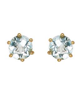 Aurora Patina Gold stud earrings with aquamarine 5.4 mm