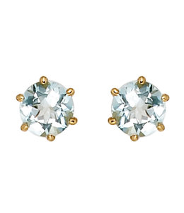 JOBO Gold stud earrings with aquamarine 5.4 mm