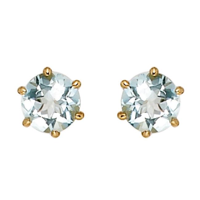 Gouden oorknopjes 14 karaat (585) met lichtblauwe aquamarijn