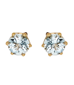 JOBO Gold stud earrings with aquamarine 4.4 mm