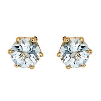 Aurora Patina Gold stud earrings with aquamarine 4.4 mm