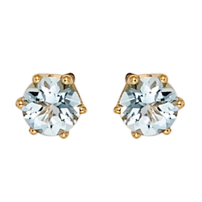 Aurora Patina Gold stud earrings with aquamarine 4.4 mm