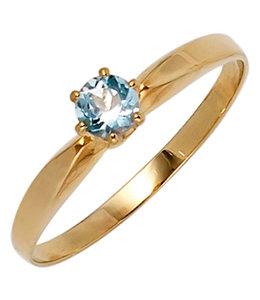 Aurora Patina Gold ring with aquamarine 4.4 mm