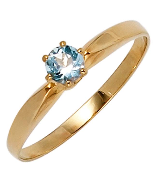 JOBO Gold ring 14 carat (585) with light blue aquamarine
