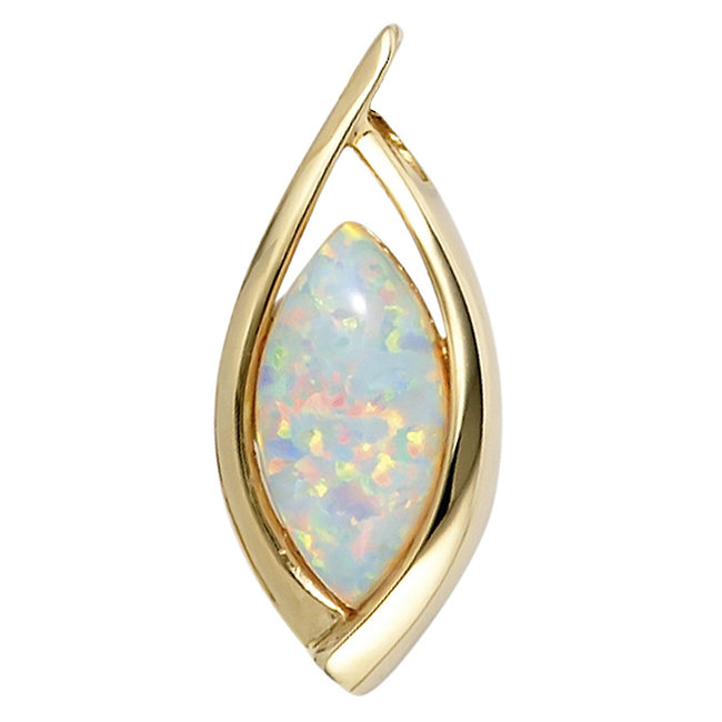 Oval golden pendant (375) with synthetic opal