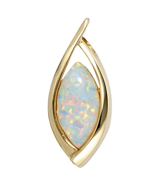 Aurora Patina Ovale Goldener Anhänger (375) mit synthetischen Opal