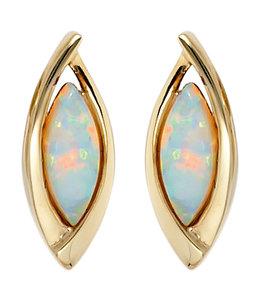 JOBO Ovale gouden oorstekers opaal