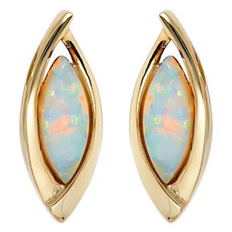 Aurora Patina Oval golden ear studs opal