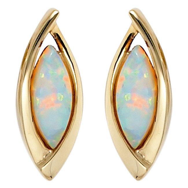 Ovale gouden oorbellen (375) met 2 synthetische opalen