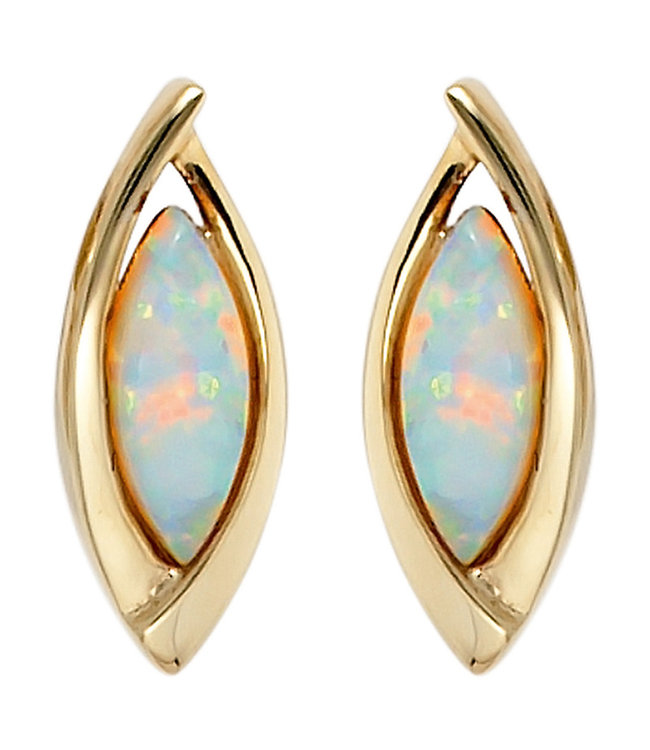 JOBO Ovale gouden oorbellen (375) met 2 synthetische opalen