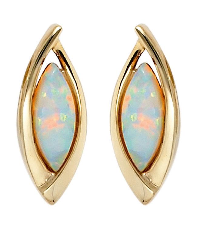JOBO Ovale Goldene Ohrringe (375) mit 2 synthetischen Opalen