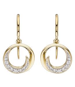 Aurora Patina Golden earrings with zirconia