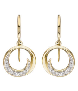 JOBO Golden earrings with zirconia