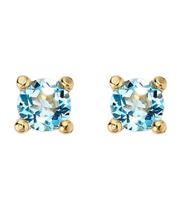 Aurora Patina Gold stud earrings with blue topaz